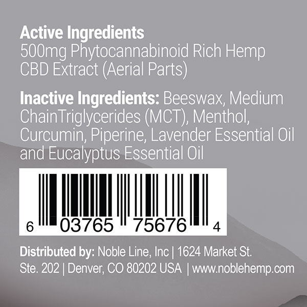 Noble Hemp Active Recovery Balm label